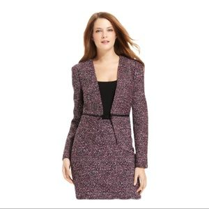 Calvin Klein tweed zipper motto blazer jacket